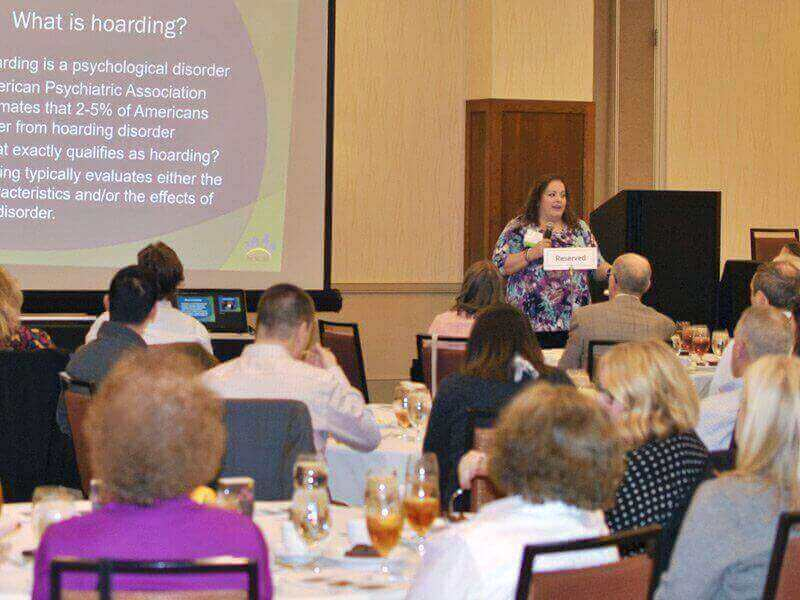 March 2018 Chapter Luncheon Photos - One of the presenters, Valerie Oman Farris, speaking to luncheon attendees.