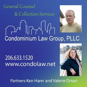 Condominium Law Group, PLLC - General Counsel & Collection Services - Partners Ken Harer & Valerie Oman - Phone: (206) 633-1520 Website: www.condolaw.net