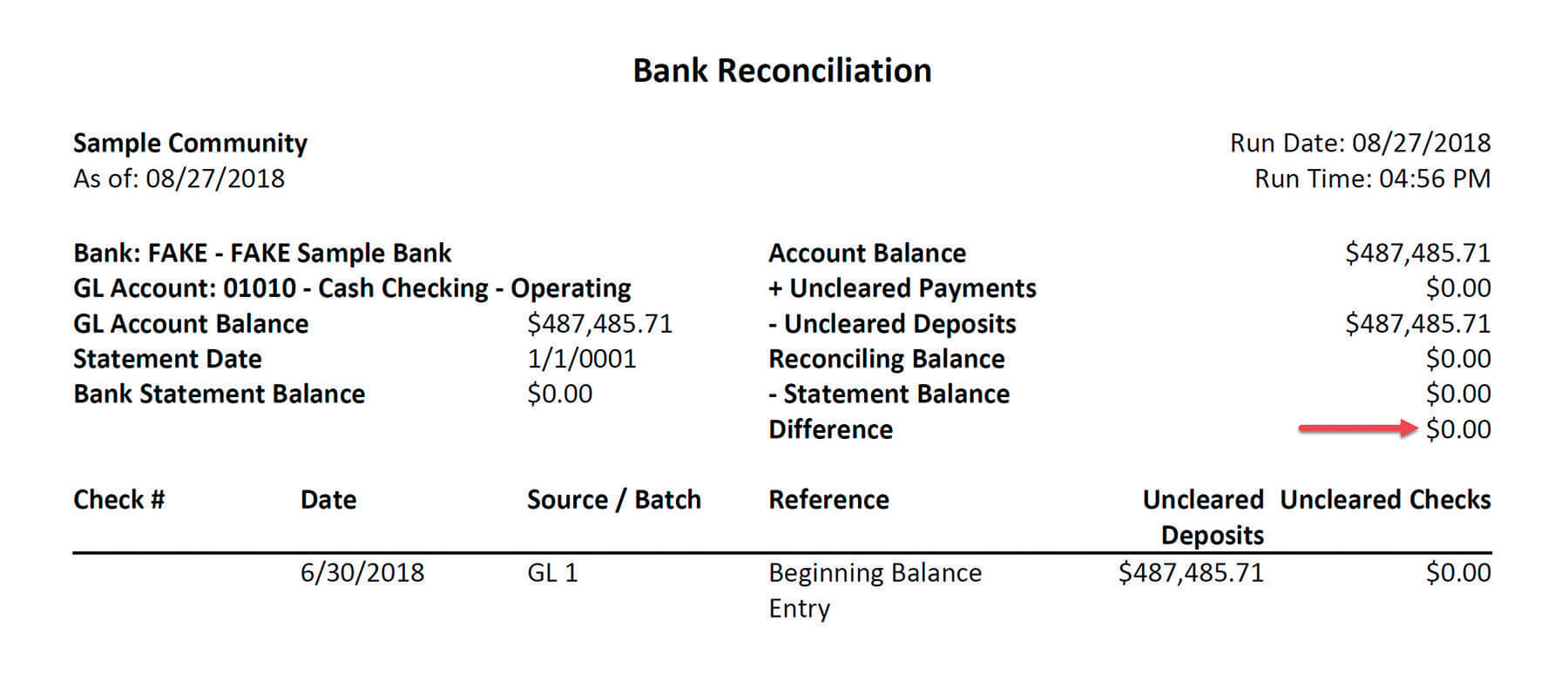 Bank Reconciliation Report Example