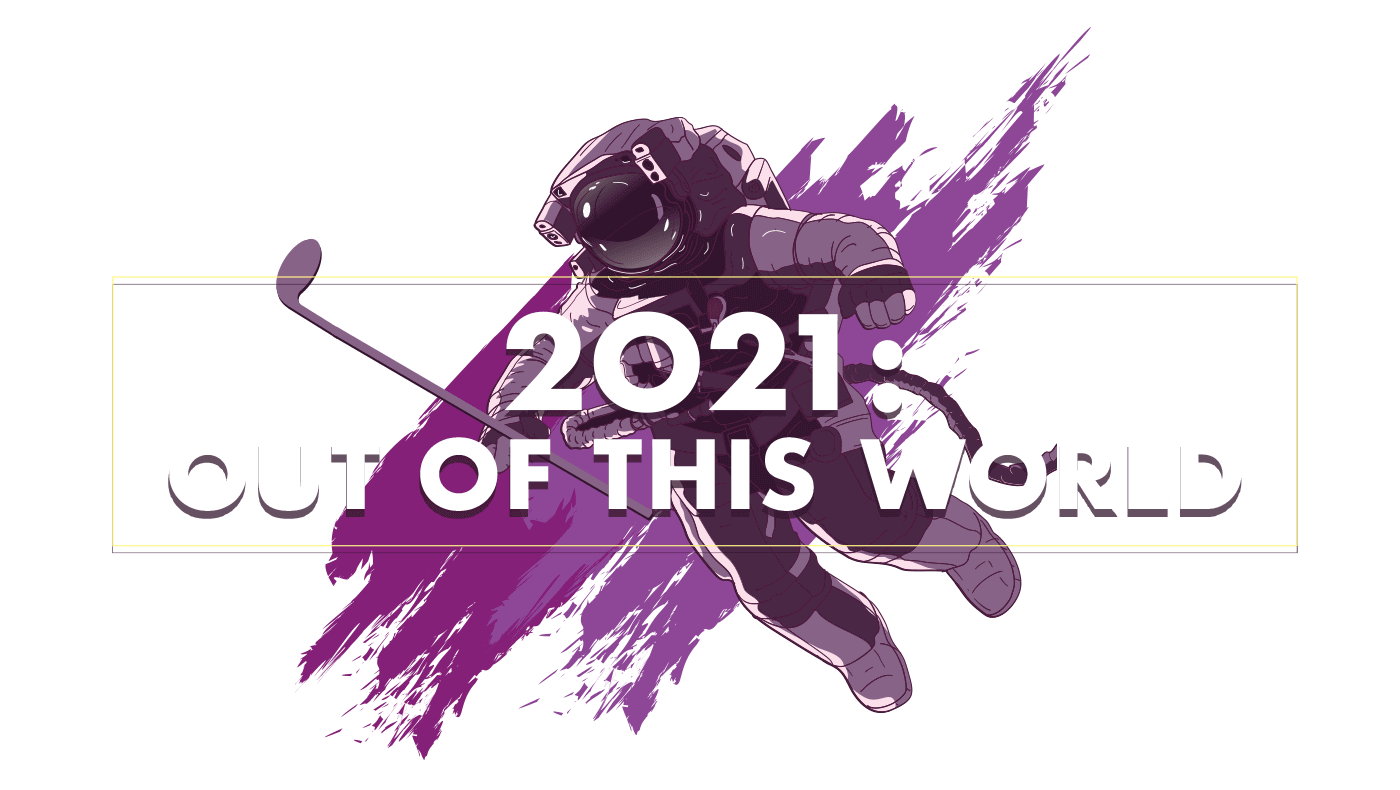 2021: Out Of This World - 2021 Annual Golf Tournament Theme Image - Astronaut in Space Suit floating and holding a golf club